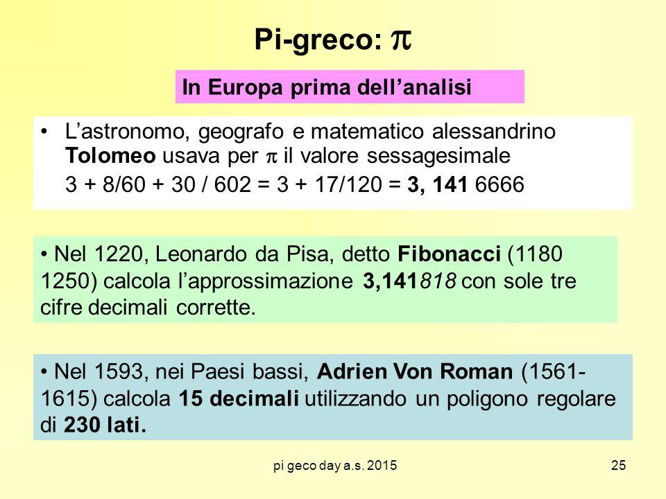 pi geco day a.s. 2015 Pi-greco:  L'astronomo, geografo e matematico alessandrino Tolomeo usava per  il valore sessagesimale 3 + 8/60 + 30 / 602 = 3