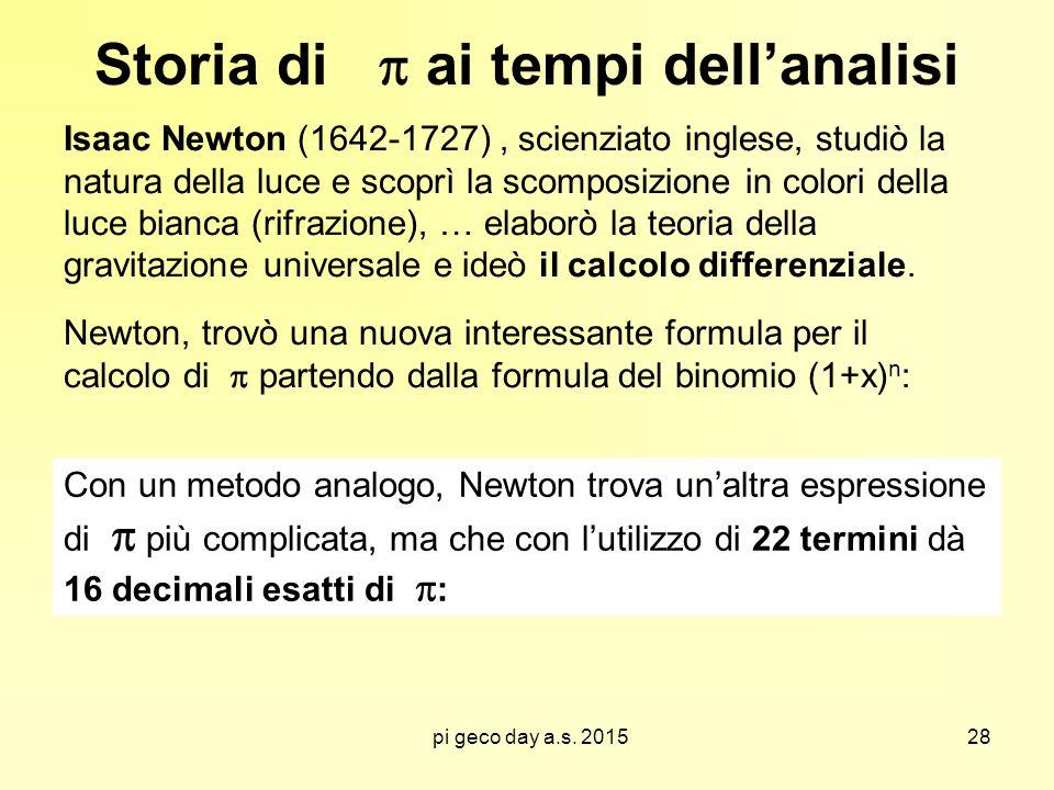 pi geco day a.s. 2015 Storia di  ai tempi dell'analisi Isaac Newton (1642-1727), scienziato inglese, studiò la natura della luce e scoprì la scomposi