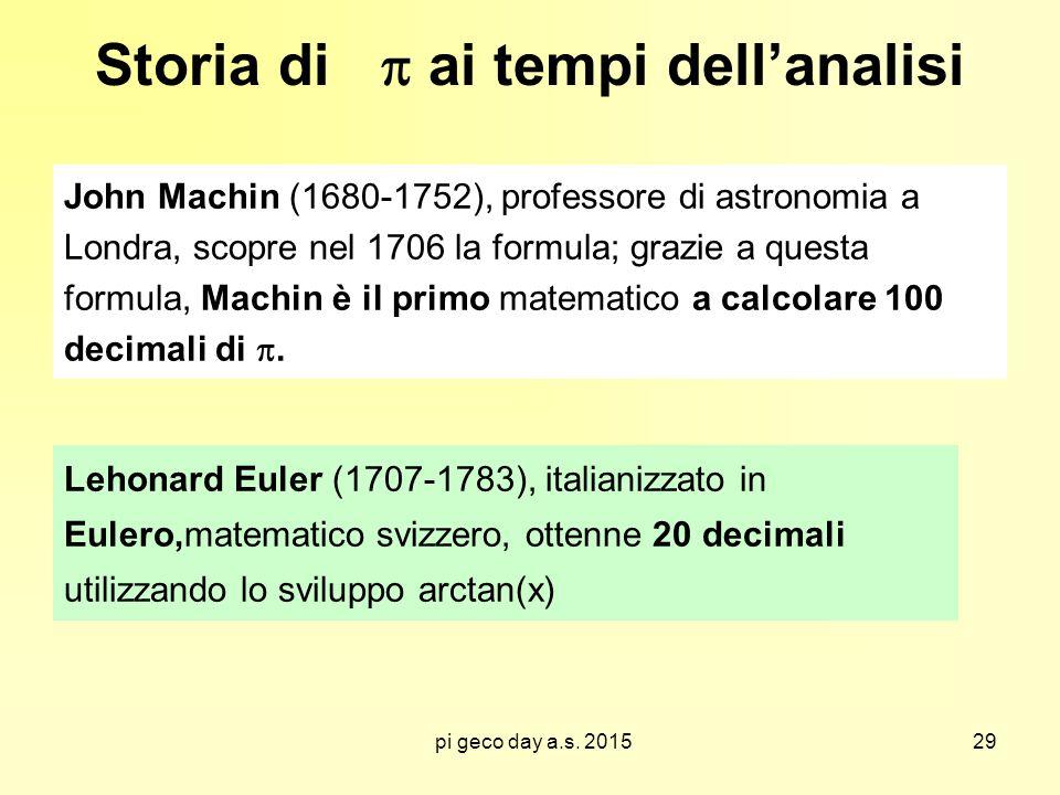 pi geco day a.s. 2015 Storia di  ai tempi dell'analisi John Machin (1680-1752), professore di astronomia a Londra, scopre nel 1706 la formula; grazie