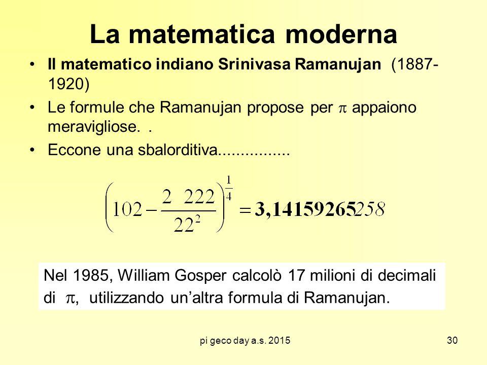 pi geco day a.s. 2015 La matematica moderna Il matematico indiano Srinivasa Ramanujan (1887- 1920) Le formule che Ramanujan propose per  appaiono mer