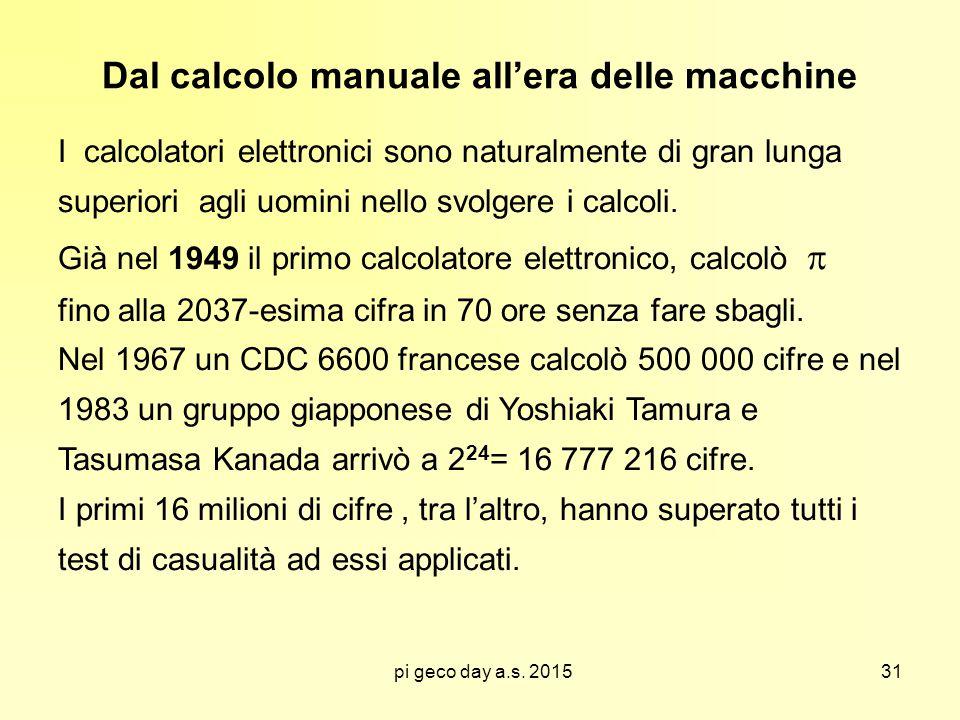 pi geco day a.s. 2015 Dal calcolo manuale all'era delle macchine I calcolatori elettronici sono naturalmente di gran lunga superiori agli uomini nello