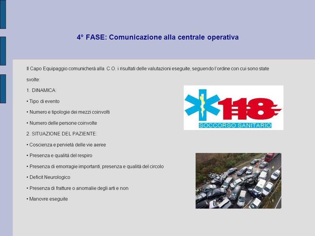 4° FASE: Comunicazione alla centrale operativa Il Capo Equipaggio comunicherà alla C.O. i risultati delle valutazioni eseguite, seguendo l'ordine con