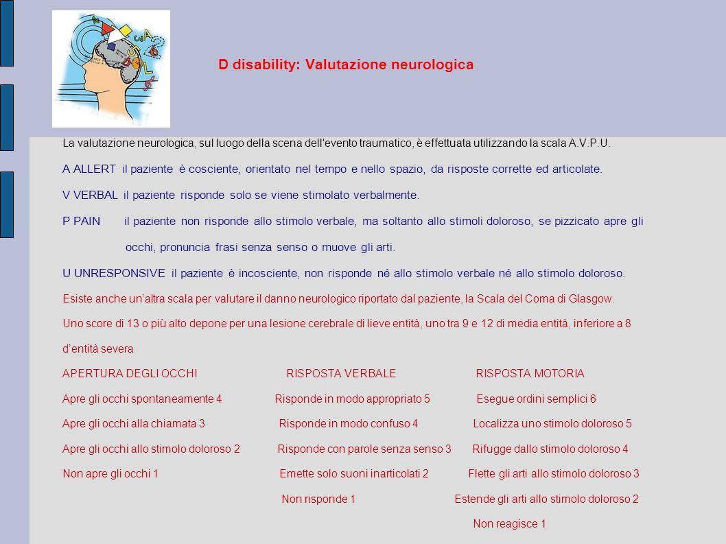 D disability: Valutazione neurologica La valutazione neurologica, sul luogo della scena dell evento traumatico, è effettuata utilizzando la scala A.V.P.U.