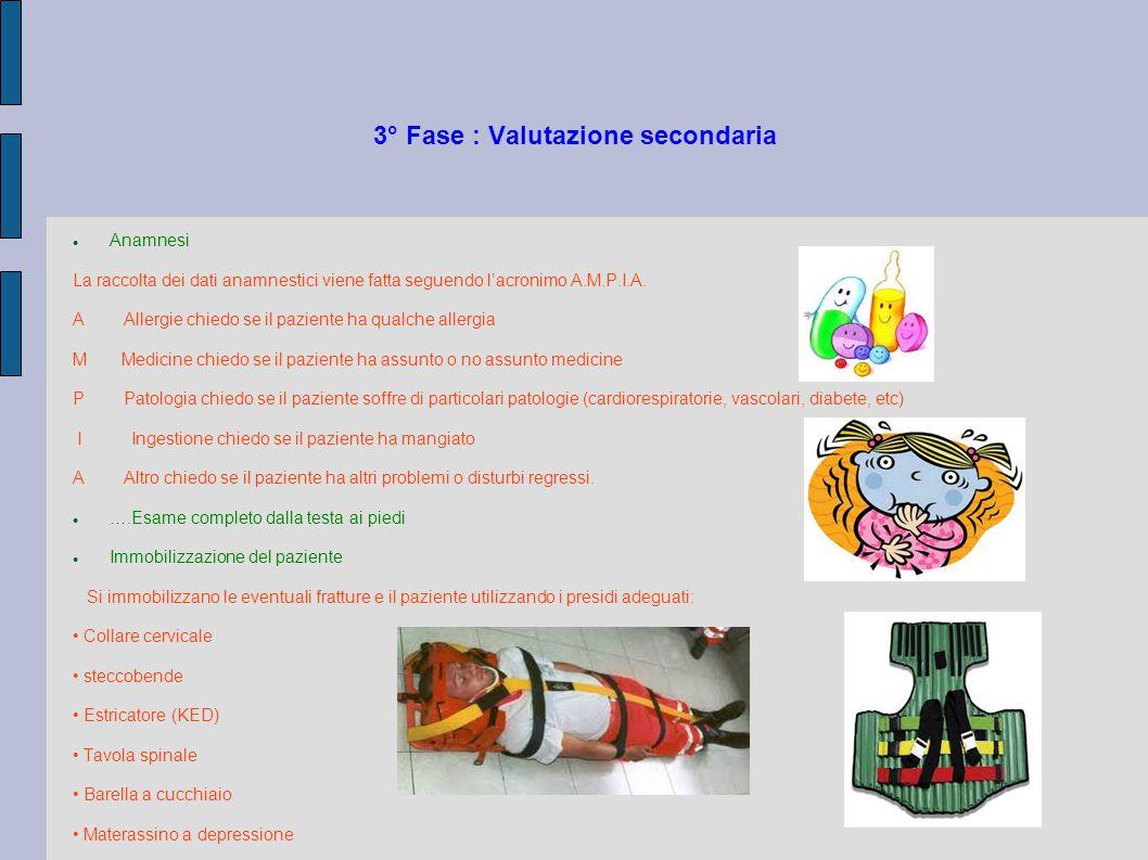 3° Fase : Valutazione secondaria Anamnesi La raccolta dei dati anamnestici viene fatta seguendo l'acronimo A.M.P.I.A. A Allergie chiedo se il paziente