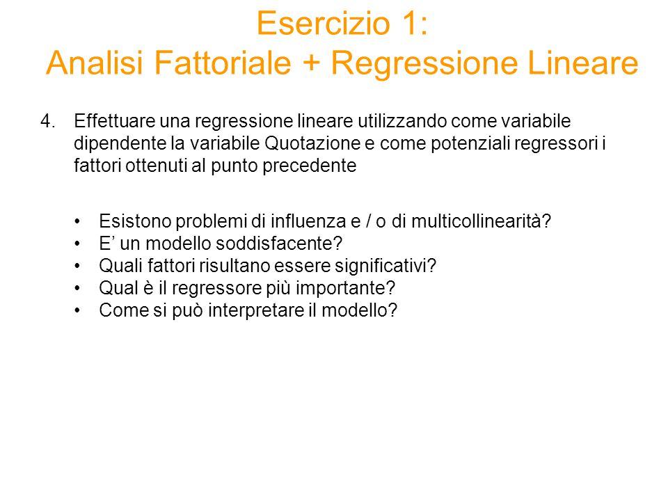 4.Effettuare una regressione lineare utilizzando come variabile dipendente la variabile Quotazione e come potenziali regressori i fattori ottenuti al punto precedente Esistono problemi di influenza e / o di multicollinearità.