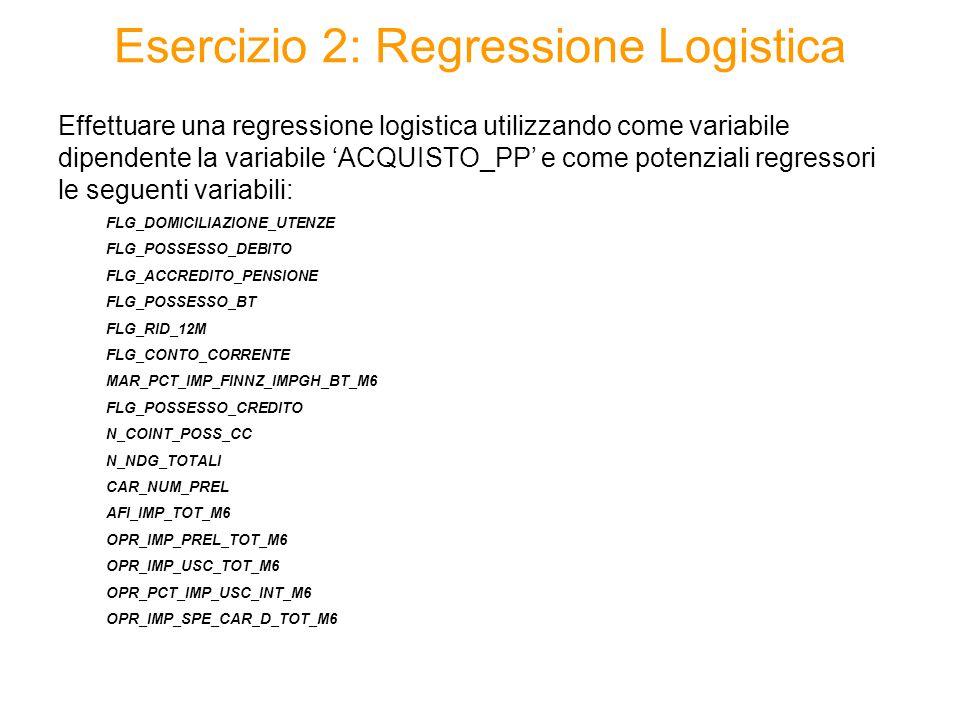 Effettuare una regressione logistica utilizzando come variabile dipendente la variabile 'ACQUISTO_PP' e come potenziali regressori le seguenti variabili: FLG_DOMICILIAZIONE_UTENZE FLG_POSSESSO_DEBITO FLG_ACCREDITO_PENSIONE FLG_POSSESSO_BT FLG_RID_12M FLG_CONTO_CORRENTE MAR_PCT_IMP_FINNZ_IMPGH_BT_M6 FLG_POSSESSO_CREDITO N_COINT_POSS_CC N_NDG_TOTALI CAR_NUM_PREL AFI_IMP_TOT_M6 OPR_IMP_PREL_TOT_M6 OPR_IMP_USC_TOT_M6 OPR_PCT_IMP_USC_INT_M6 OPR_IMP_SPE_CAR_D_TOT_M6 Esercizio 2: Regressione Logistica