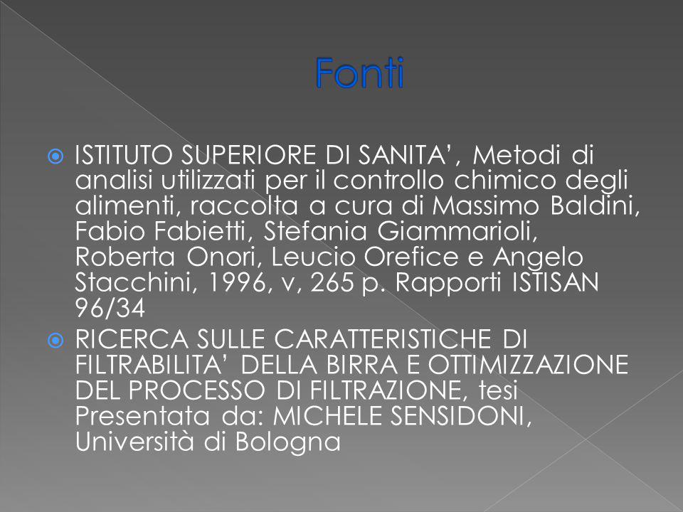  ISTITUTO SUPERIORE DI SANITA', Metodi di analisi utilizzati per il controllo chimico degli alimenti, raccolta a cura di Massimo Baldini, Fabio Fabie