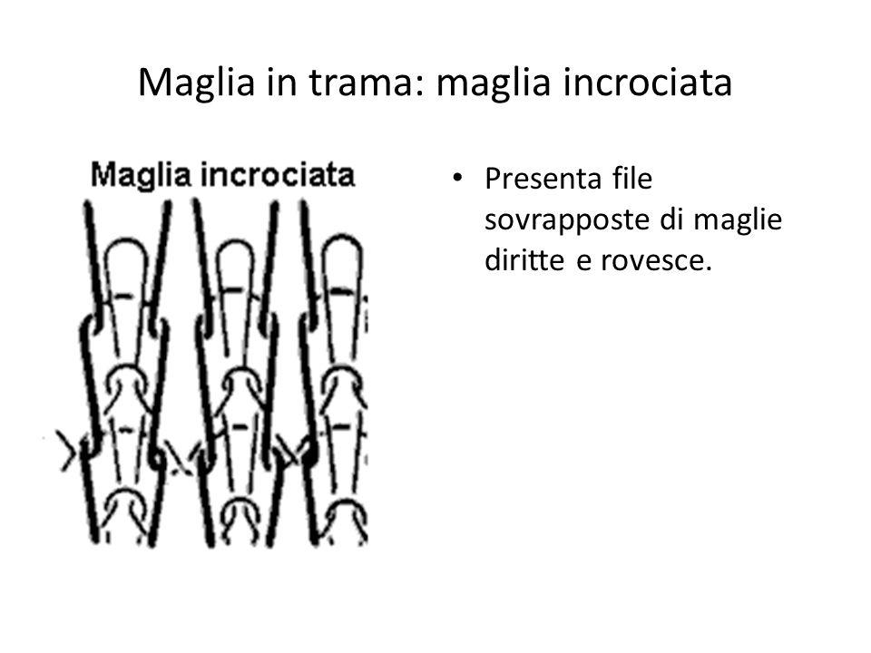 Maglia in trama: maglia incrociata Presenta file sovrapposte di maglie diritte e rovesce.