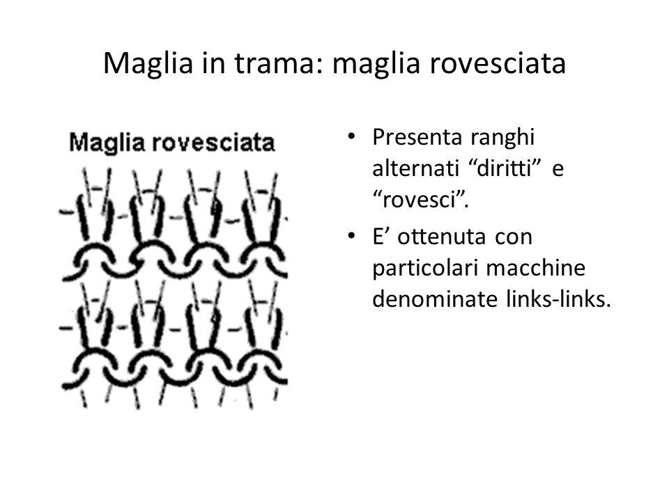 """Maglia in trama: maglia rovesciata Presenta ranghi alternati """"diritti"""" e """"rovesci"""". E' ottenuta con particolari macchine denominate links-links."""
