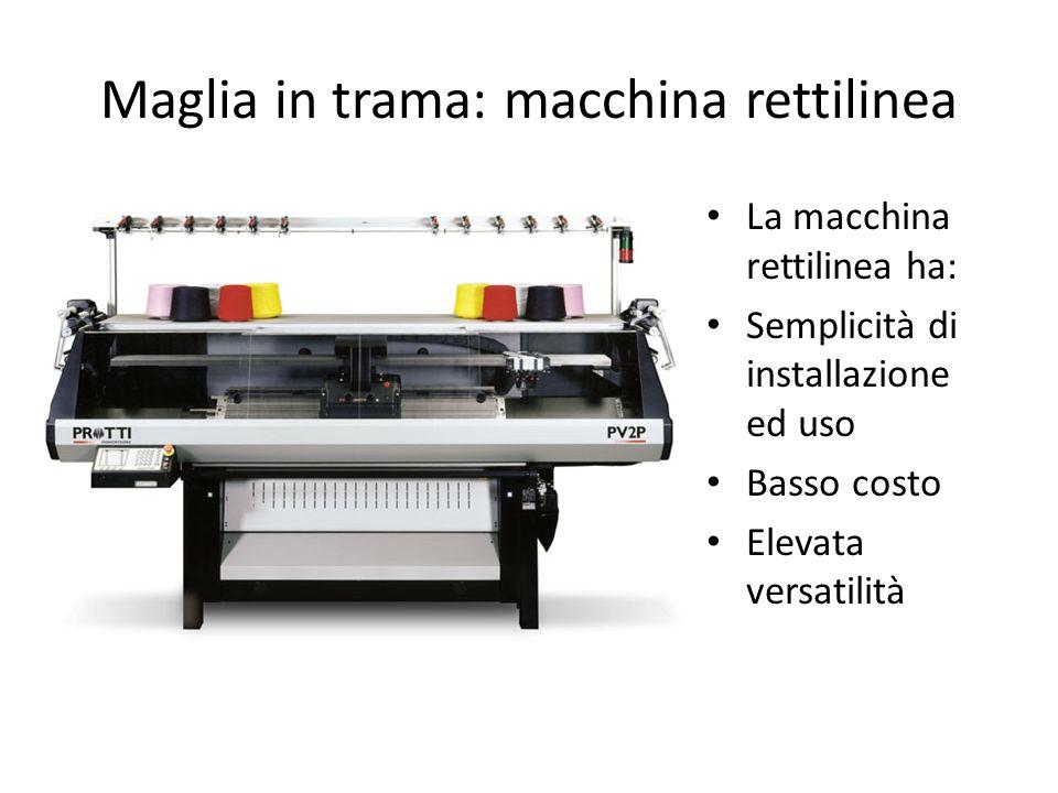 Maglia in trama: macchina rettilinea La macchina rettilinea ha: Semplicità di installazione ed uso Basso costo Elevata versatilità