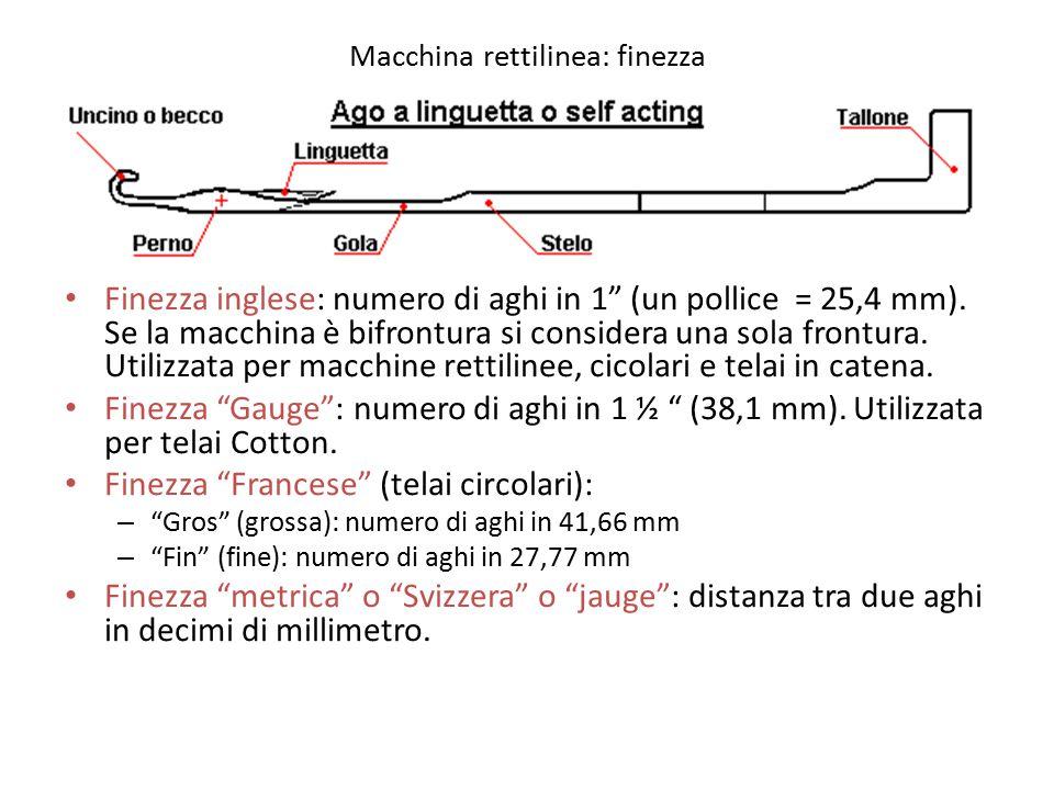 """Macchina rettilinea: finezza Finezza inglese: numero di aghi in 1"""" (un pollice = 25,4 mm). Se la macchina è bifrontura si considera una sola frontura."""