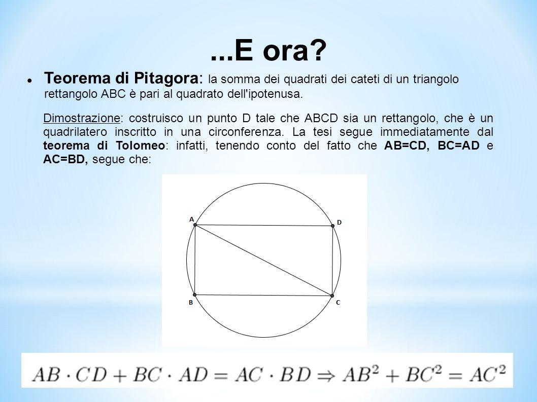 ...E ora? Teorema di Pitagora: la somma dei quadrati dei cateti di un triangolo rettangolo ABC è pari al quadrato dell'ipotenusa. Dimostrazione: costr