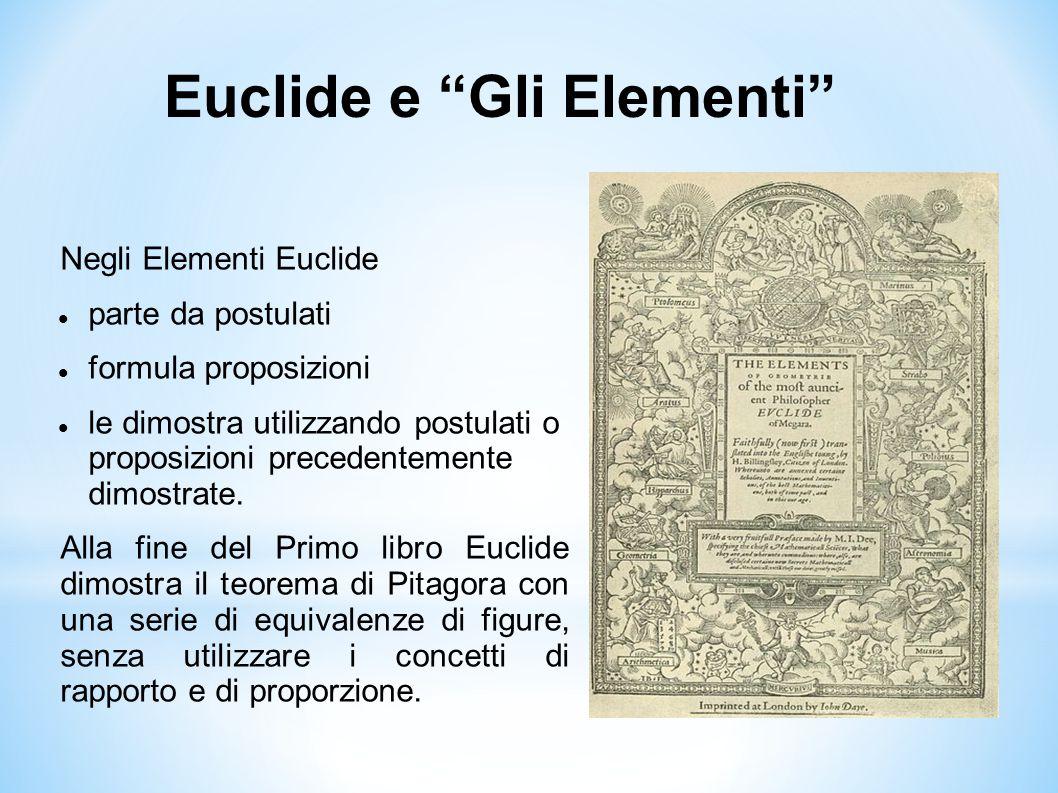 """Euclide e """"Gli Elementi"""" Negli Elementi Euclide parte da postulati formula proposizioni le dimostra utilizzando postulati o proposizioni precedentemen"""