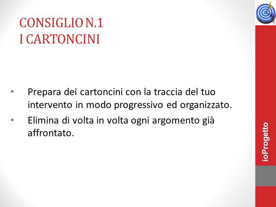 CONSIGLIO N.1 I CARTONCINI Prepara dei cartoncini con la traccia del tuo intervento in modo progressivo ed organizzato.