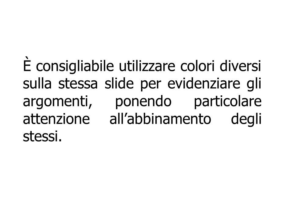 È consigliabile utilizzare colori diversi sulla stessa slide per evidenziare gli argomenti, ponendo particolare attenzione all'abbinamento degli stess