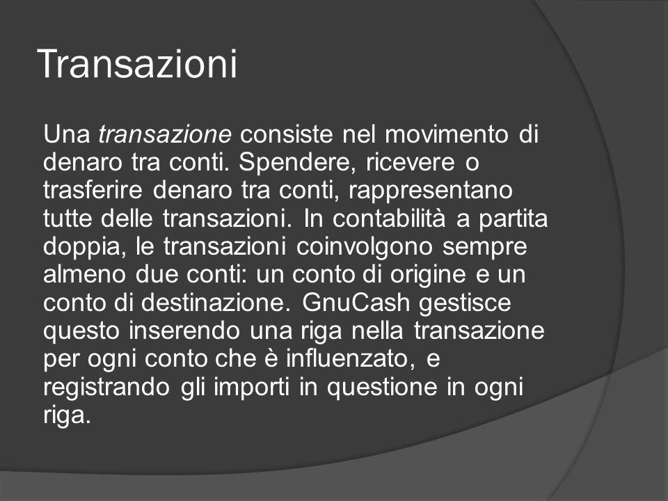 Transazioni Una transazione consiste nel movimento di denaro tra conti. Spendere, ricevere o trasferire denaro tra conti, rappresentano tutte delle tr