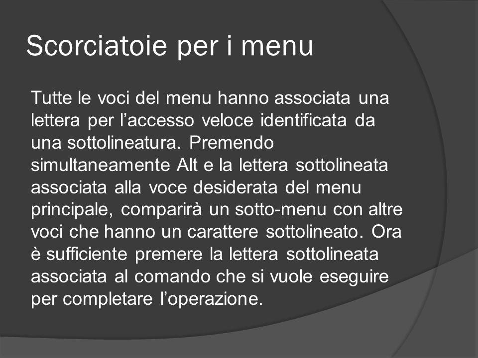 Scorciatoie per i menu Tutte le voci del menu hanno associata una lettera per l'accesso veloce identificata da una sottolineatura. Premendo simultanea