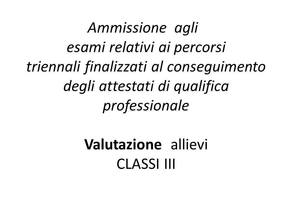 Ammissione agli esami relativi ai percorsi triennali finalizzati al conseguimento degli attestati di qualifica professionale Valutazione allievi CLASSI III