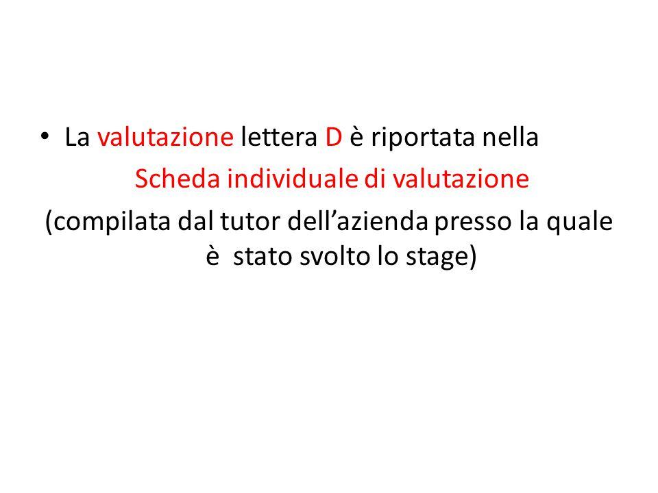 La valutazione lettera D è riportata nella Scheda individuale di valutazione (compilata dal tutor dell'azienda presso la quale è stato svolto lo stage)