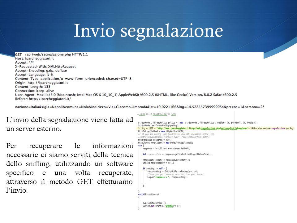 Invio segnalazione L'invio della segnalazione viene fatta ad un server esterno.