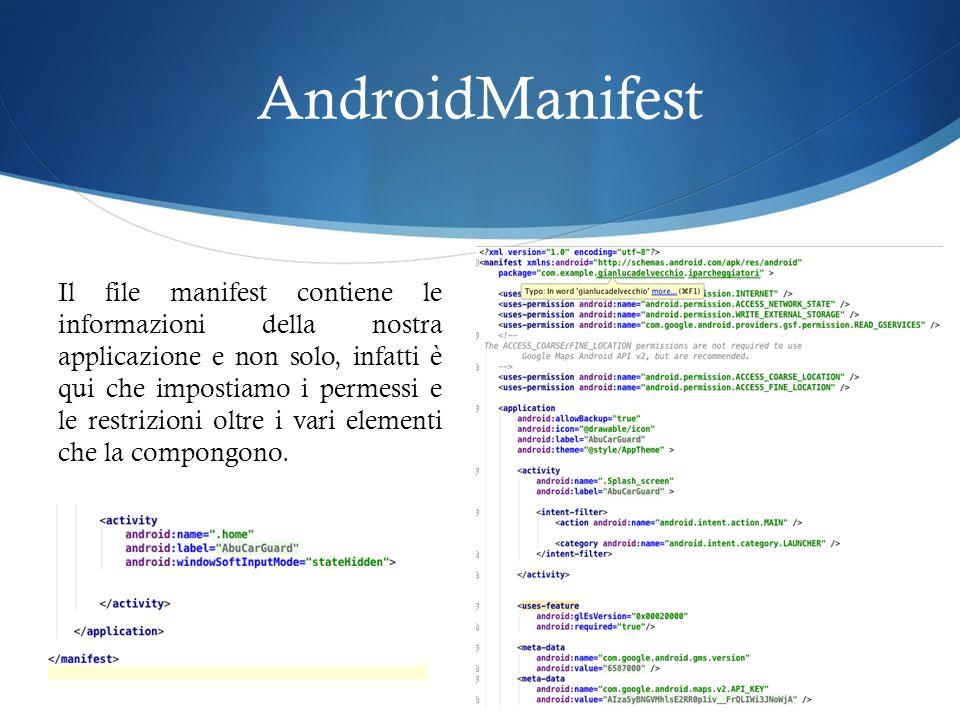 AndroidManifest Il file manifest contiene le informazioni della nostra applicazione e non solo, infatti è qui che impostiamo i permessi e le restrizioni oltre i vari elementi che la compongono.