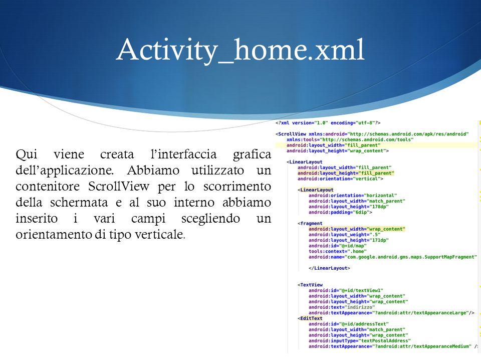 Activity_home.xml Qui viene creata l'interfaccia grafica dell'applicazione.