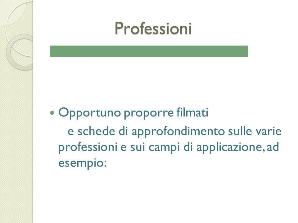 Professioni Professioni Opportuno proporre filmati e schede di approfondimento sulle varie professioni e sui campi di applicazione, ad esempio:
