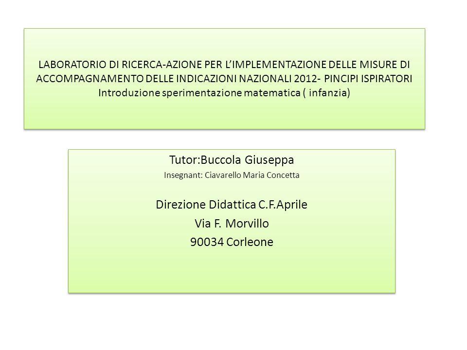 LABORATORIO DI RICERCA-AZIONE PER L'IMPLEMENTAZIONE DELLE MISURE DI ACCOMPAGNAMENTO DELLE INDICAZIONI NAZIONALI 2012- PINCIPI ISPIRATORI Introduzione