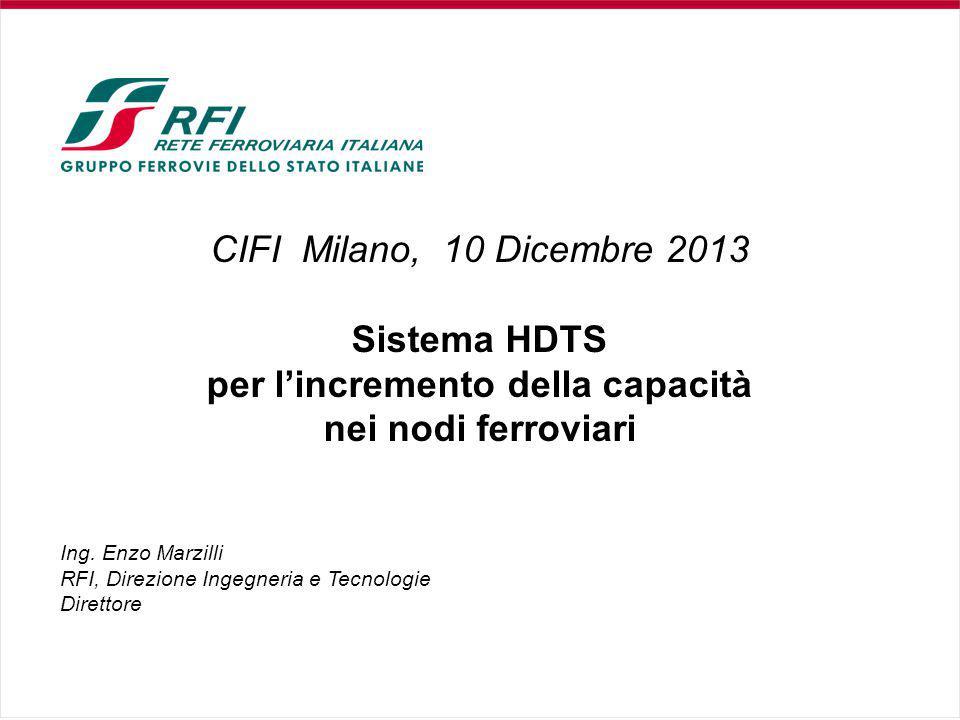 CIFI Milano, 10 Dicembre 2013 Sistema HDTS per l'incremento della capacità nei nodi ferroviari Ing.