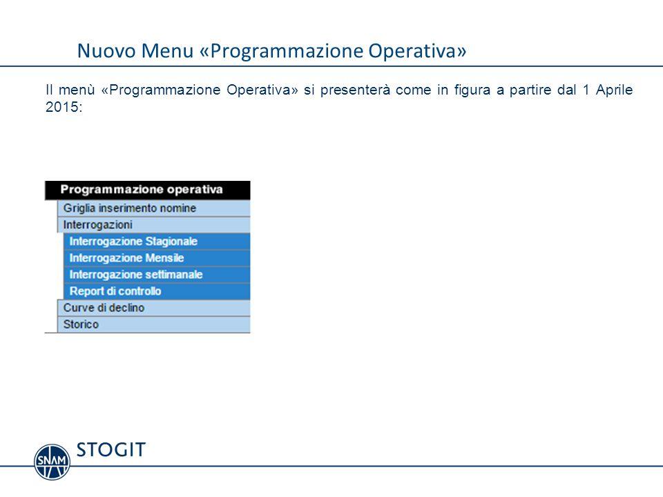 Indice Nuovo Menu Programmazione Operativa Griglia di Inserimento Inserimento Dettaglio