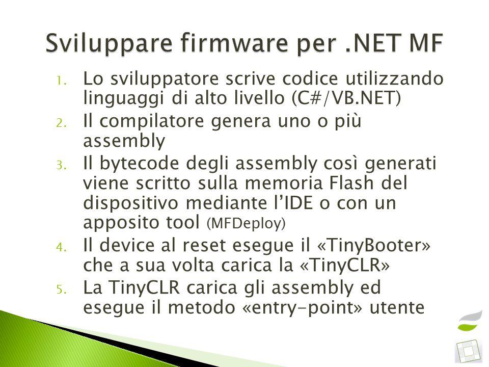 1. Lo sviluppatore scrive codice utilizzando linguaggi di alto livello (C#/VB.NET) 2.