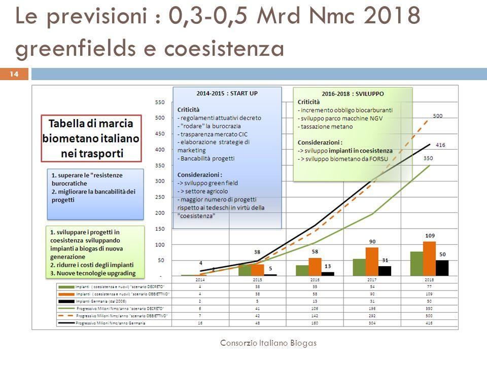 Le previsioni : 0,3-0,5 Mrd Nmc 2018 greenfields e coesistenza 14 Consorzio Italiano Biogas