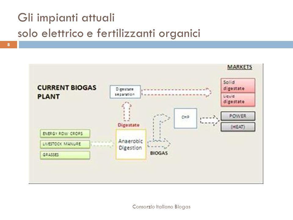 Gli impianti attuali solo elettrico e fertilizzanti organici 8 Consorzio Italiano Biogas