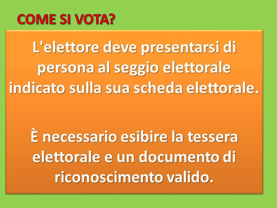 L elettore deve presentarsi di persona al seggio elettorale indicato sulla sua scheda elettorale.