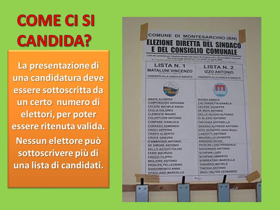 La presentazione di una candidatura deve essere sottoscritta da un certo numero di elettori, per poter essere ritenuta valida.