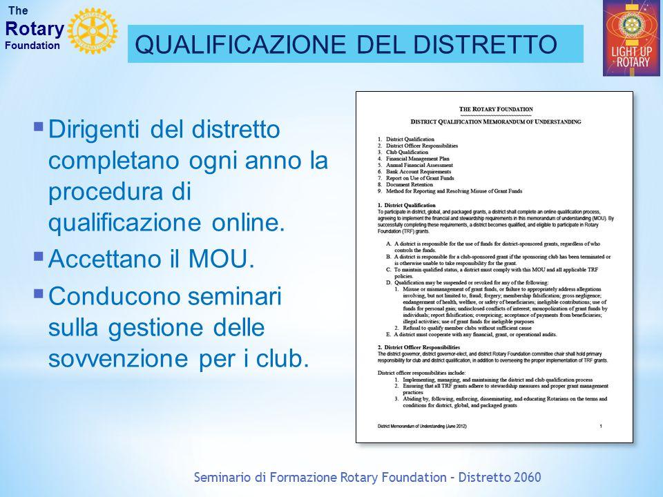 Seminario di Formazione Rotary Foundation – Distretto 2060 QUALIFICAZIONE DEL DISTRETTO The Rotary Foundation  Dirigenti del distretto completano ogn