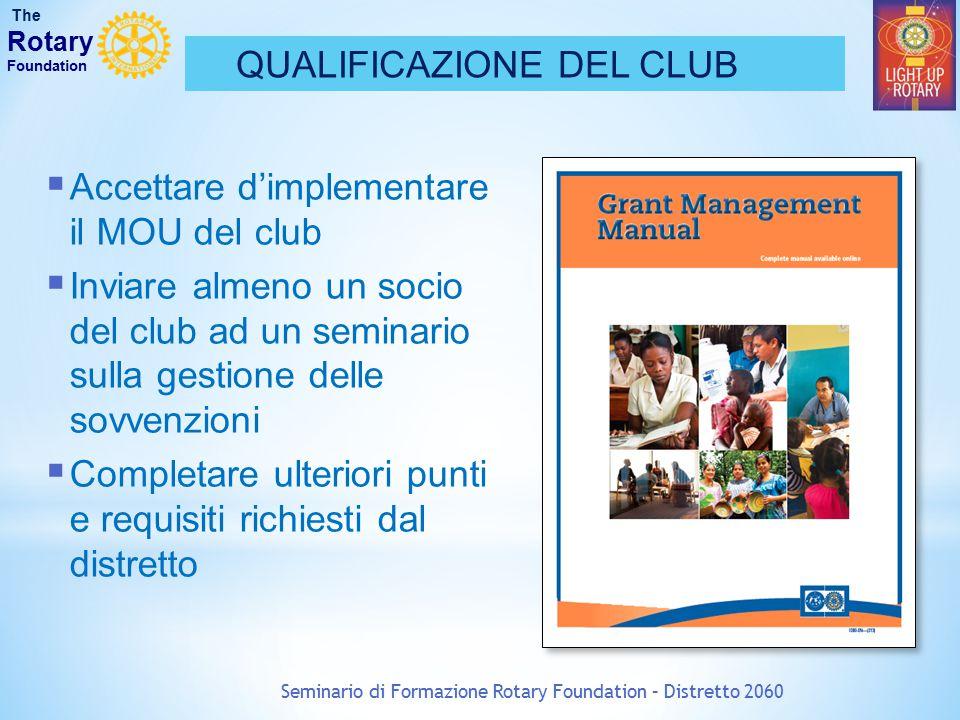 Seminario di Formazione Rotary Foundation – Distretto 2060 QUALIFICAZIONE DEL CLUB The Rotary Foundation  Accettare d'implementare il MOU del club 