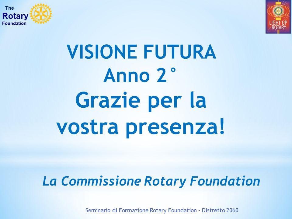 Seminario di Formazione Rotary Foundation – Distretto 2060 The Rotary Foundation VISIONE FUTURA Anno 2° Grazie per la vostra presenza! La Commissione
