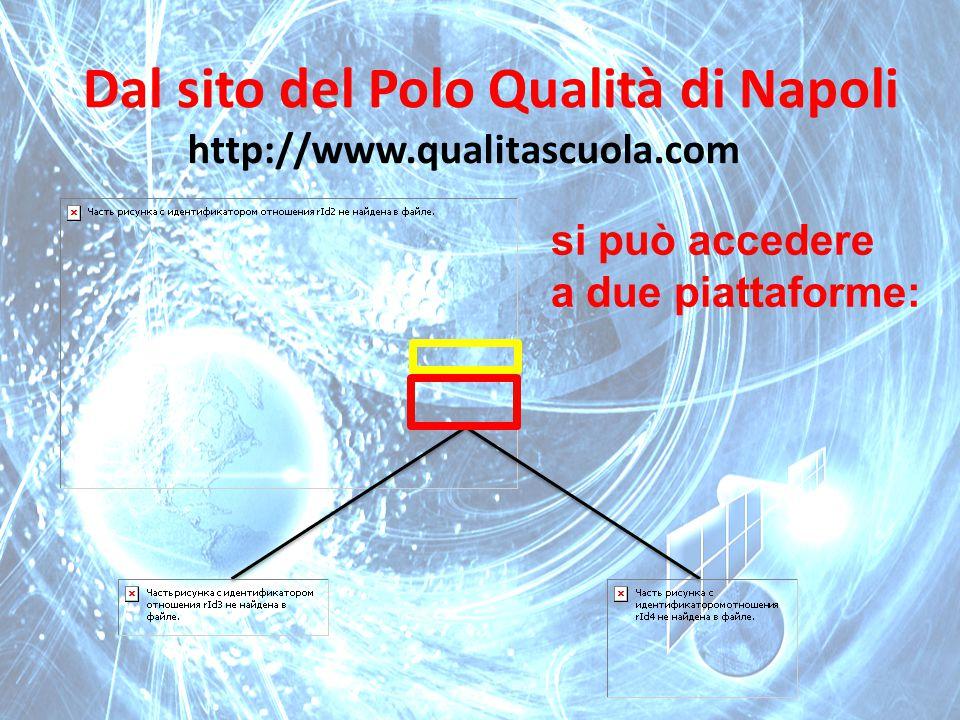 Dal sito del Polo Qualità di Napoli http://www.qualitascuola.com si può accedere a due piattaforme: