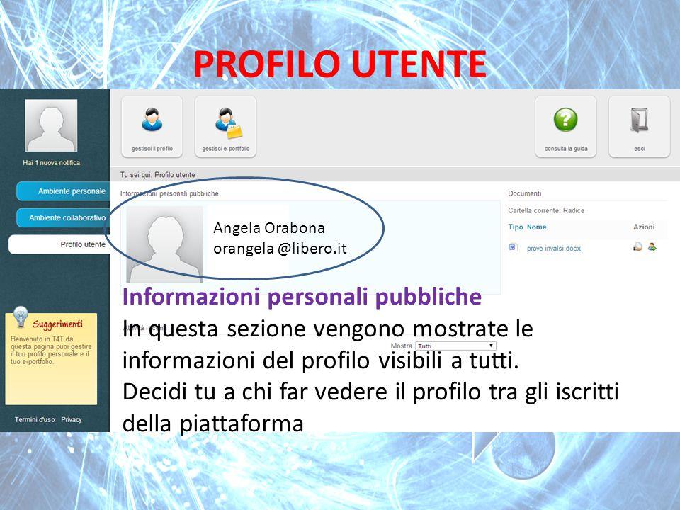 PROFILO UTENTE Informazioni personali pubbliche In questa sezione vengono mostrate le informazioni del profilo visibili a tutti. Decidi tu a chi far v