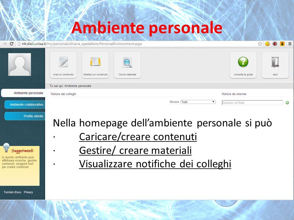 Ambiente personale Nella homepage dell'ambiente personale si può · Caricare/creare contenuti · Gestire/ creare materiali · Visualizzare notifiche dei