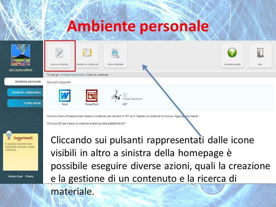 Ambiente personale Cliccando sui pulsanti rappresentati dalle icone visibili in altro a sinistra della homepage è possibile eseguire diverse azioni, q