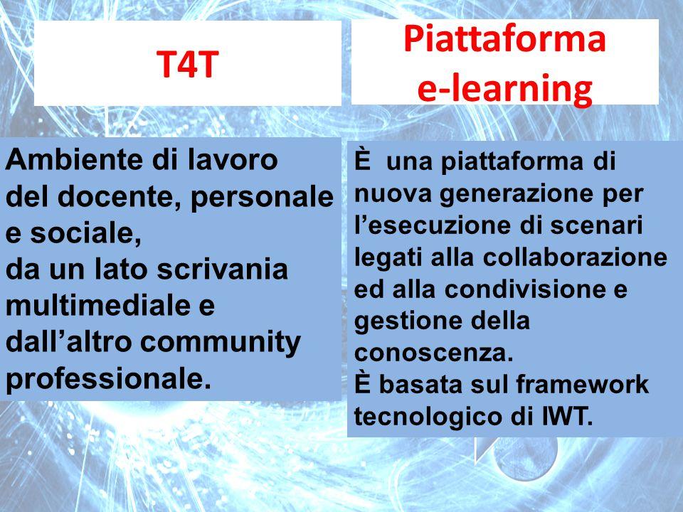 T4T Piattaforma e-learning Ambiente di lavoro del docente, personale e sociale, da un lato scrivania multimediale e dall'altro community professionale