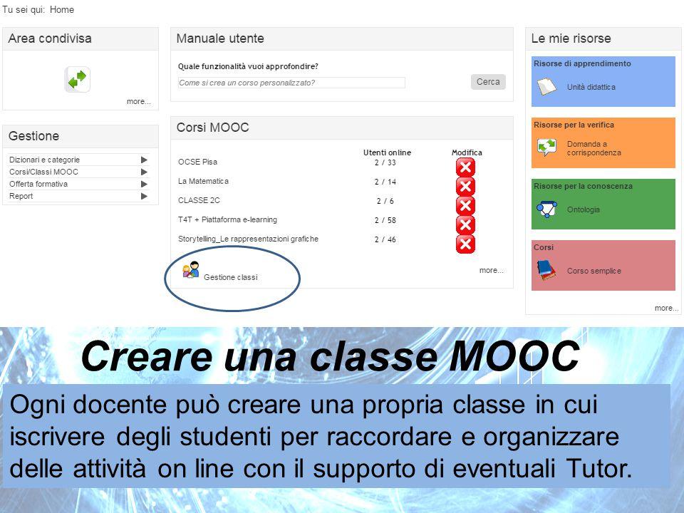 Creare una classe MOOC Ogni docente può creare una propria classe in cui iscrivere degli studenti per raccordare e organizzare delle attività on line