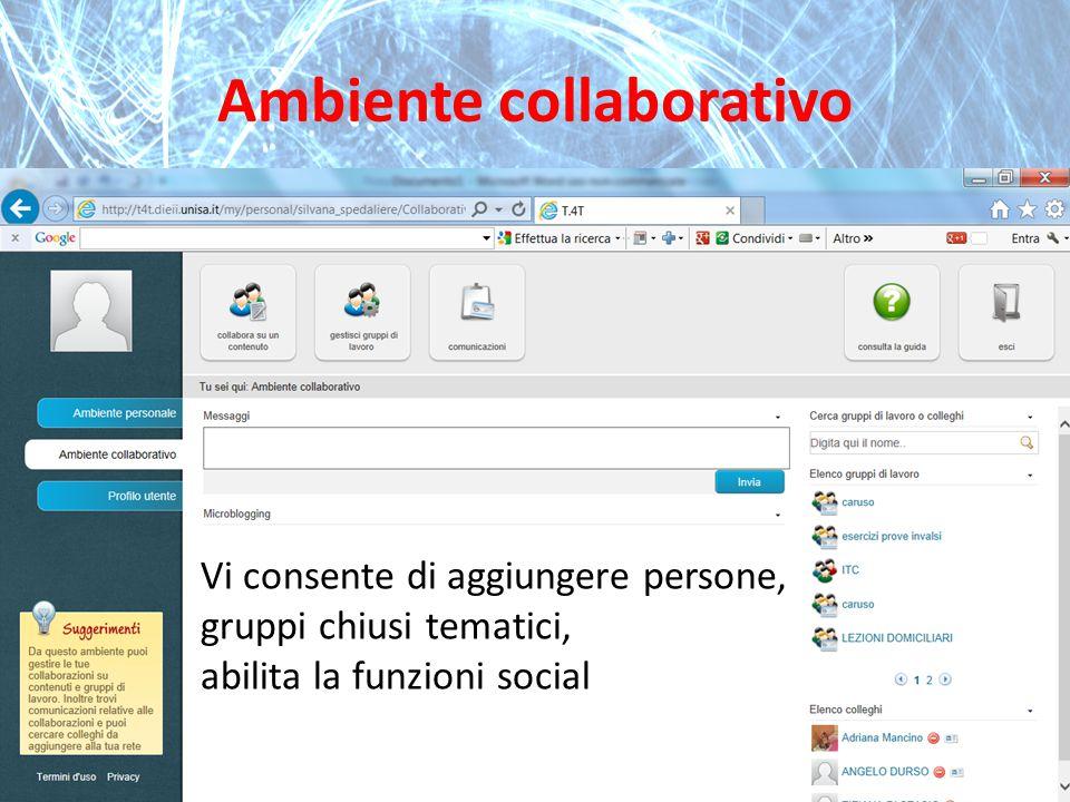 Ambiente collaborativo Vi consente di aggiungere persone, gruppi chiusi tematici, abilita la funzioni social