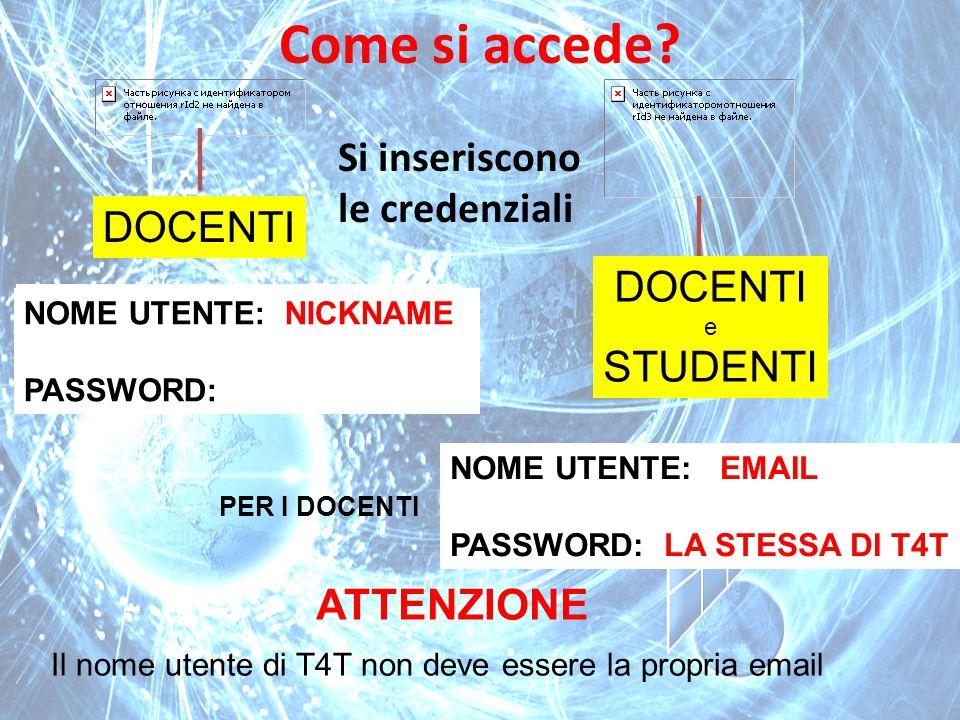DOCENTI e STUDENTI Come si accede? Si inseriscono le credenziali NOME UTENTE: PASSWORD: NOME UTENTE: PASSWORD: NOME UTENTE: NICKNAME PASSWORD: NOME UT