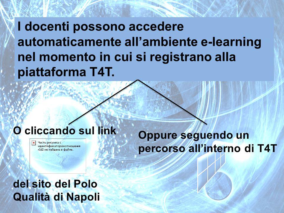 I docenti possono accedere automaticamente all'ambiente e-learning nel momento in cui si registrano alla piattaforma T4T. O cliccando sul link del sit