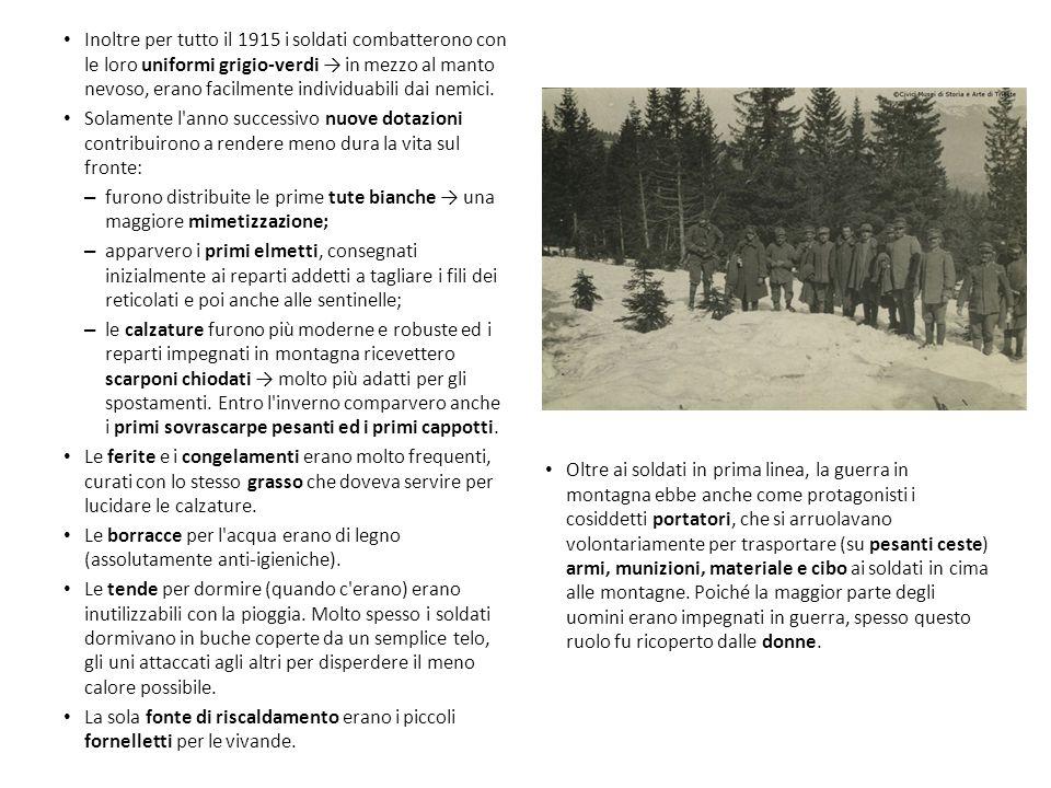 Inoltre per tutto il 1915 i soldati combatterono con le loro uniformi grigio-verdi → in mezzo al manto nevoso, erano facilmente individuabili dai nemi