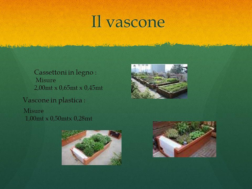 Il vascone Il vascone Vascone in plastica : Misure 1,00mt x 0,50mtx 0,28mt Cassettoni in legno : Misure 2,00mt x 0,65mt x 0,45mt