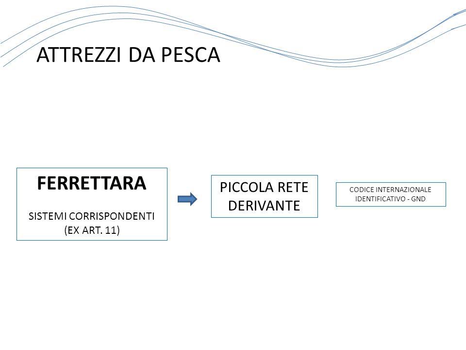 ATTREZZI DA PESCA CODICE INTERNAZIONALE IDENTIFICATIVO - GND FERRETTARA SISTEMI CORRISPONDENTI (EX ART. 11) PICCOLA RETE DERIVANTE